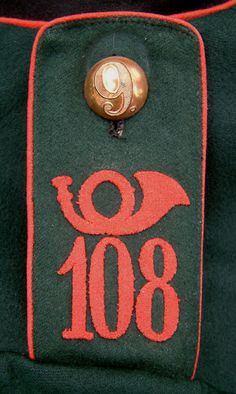 German; Detail from the NCO's Waffenrock from Sachsen (Saxon) Kgl. Sächs. Schützen (Füsilier)-Regiment Prinz Georg Nr.108, Dresden, XII Armee Korps.  .The 9 on the button indicates the NCO was a member of the 9th Company.