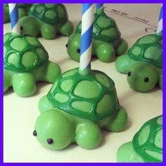 Turtle cake pops!!!! Cute!