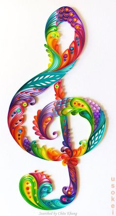 @ Usokei- Quilled treble clef pictures (Searched by Châu Khang)