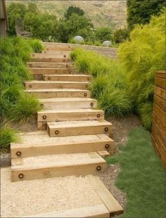 garden steps with wood | Garden stairs with wooden construction
