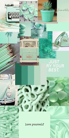 Mint Green Wallpaper Iphone, Iphone Background Wallpaper, Galaxy Wallpaper, Iphone Wallpaper Tumblr Aesthetic, Aesthetic Pastel Wallpaper, Aesthetic Wallpapers, Retro Wallpaper, Mint Green Aesthetic, Collage Background