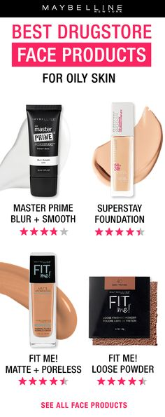 The BEST face products for oily skin! Start off with Master Prime Blur and Smooth primer to smooth the appearance of large pores.  Super Stay Foundation provides a longwear, full coverage foundation finish that stays matte all day.  Fit Me! Matte + Poreless foundation provides a matte, medium coverage finish that looks flawless.  And set foundation with Fit Me! Loose Powder to keep foundation look matte and flawless all day long.