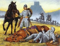 Conquista normanda de Britania - Arre caballo! Norman Knight, Ottonian, New Fantasy, Medieval Knight, 11th Century, Anglo Saxon, Dark Ages, Historical Pictures, Middle Ages