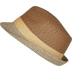 8c4790a0eff River Island Brown straw trilby hat ( 23) ❤ liked on Polyvore featuring  men s fashion