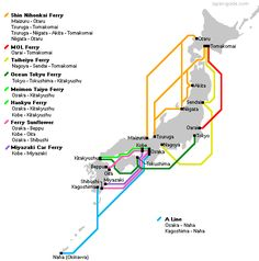 Japanese Ferries (Domestic Routes): Route Details