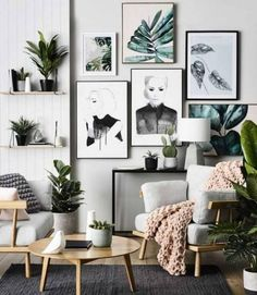 Wall art with plants