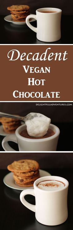 Why have regular hot chocolate when you can make yourself this easy and rich decadent vegan hot chocolate to warm up with instead? Vegan Treats, Vegan Foods, Vegan Dishes, Dairy Free Recipes, Vegan Gluten Free, Vegan Recipes, Vegan Hot Chocolate, Vegan Smoothies, Going Vegan