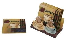 """Drink Coaster Set with Holder in Cappuccino Coffee Design by Richesco. $14.95. The holder for the coasters is painted front and back to match the artwork of the coasters. These coasters are crafted to continually absorb moisture with cork backing to protect furniture. This set of beautiful coasters is hand painted and is truly unique. Each set comes with 4 matching coasters and a beautiful holder to display them in. Each coaster is 3 1/2"""" Square. This set of beautiful coaster..."""