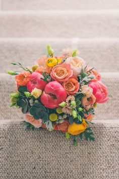 Coral Peony Peonies Roses Pink Blush Yellow - love this Pink and yellow combo Plan My Wedding, Diy Wedding, Rustic Wedding, Wedding Planning, Wedding Ideas, Beach Wedding Bouquets, Bride Bouquets, Wedding Flowers, Wedding Themes