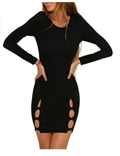 Gogoboi Women Sexy Cut Out Long Sleeve Bodycon Mini Dress for Cocktail Party  Nightclub. 704f87835cf9
