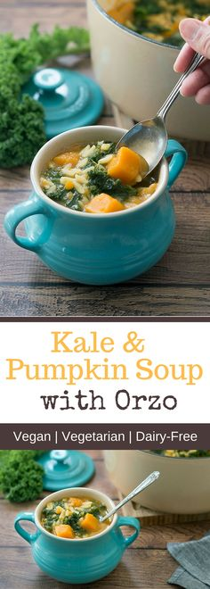 This healthy, Vegan Kale and Pumpkin Soup with Orzo is the perfect soup for the colder autumn and winter months. It's not just delicious and warming it is also packed with nutrients. If you want to make it gluten-free you can simply replace the orzo pasta with puy lentils.