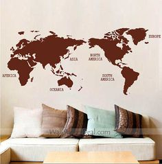 30 best urban wall decals images on pinterest wall clings wall world map wall sticker gumiabroncs Image collections