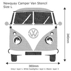 Newquay Camper Stencil - Buy reusable wall stencils online at The Stencil Studio
