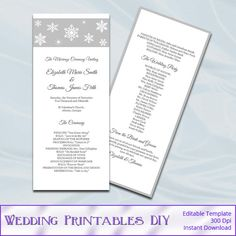 Silver Wedding Program Template  Diy by WeddingPrintablesDiy