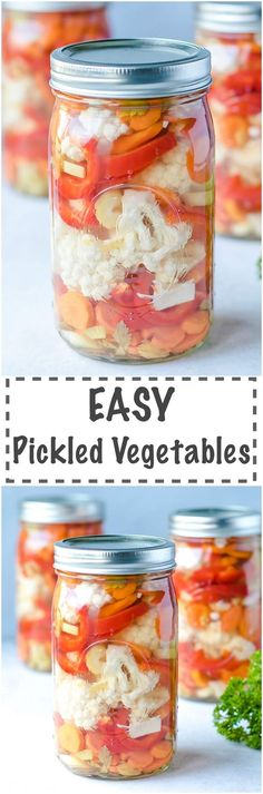My go to recipe for fresh pickled vegetables – Easy Pickled Vegetables Cauliflower, Red Peppers And Carrots. Quick and easy to make, crunchy and flavorful. Add to salads, sandwiches, cheese trays or party platters. Low calorie and super delicious!