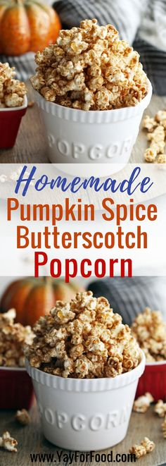 A perfect fall snack! Try this flavourful sweet, spiced popcorn with scratch made pumpkin spice mix and butterscotch sauce! Everything is ready in 15 minutes! Snacks | Desserts | Fall Recipes | Vegetarian