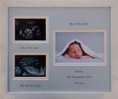 Triple scan baby boy personalised photo frame 20 x 8 white – Azana Photo Frames