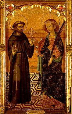 """LORENZO DE ZARAGOZA (1363?-1406) """"San Francisco y Santa Catalina""""."""