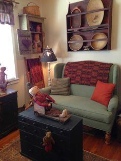 primitive homes daily crossword Primitive Living Room, Primitive Country Homes, Primitive Furniture, Country Furniture, Primitive Cabinets, Colonial Furniture, Prim Decor, Country Decor, Primitive Decor