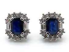 14k White Gold Sapphire Diamond Cluster Stud Earrings 3.10cts