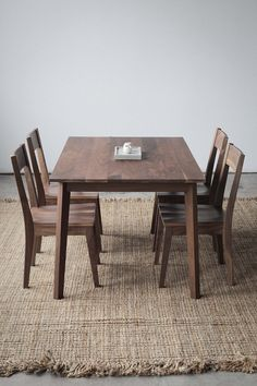 Walnut Dining Table by Hedge House Furniture on Scoutmob Shoppe. Stunning, heirloom-quality table with nods to mid-century modern design. Walnut Dining Table, Dining Table Chairs, Dining Set, Kitchen Dining, Walnut Kitchen, Wood Chairs, Wood Table, Kitchen Cabinets, Furniture Making