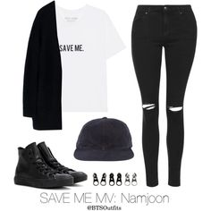 Save Me MV: Namjoon by btsoutfits on Polyvore featuring Acne Studios, Topshop, Converse and Full Tilt