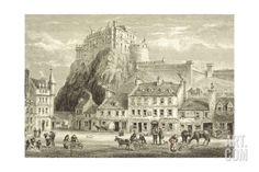 Castle and Grassmarket, Edinburgh, Scotland, from 'scottish Pictures Drawn with Pen and Pencil',¡ by Steven Gnam Landscapes Giclee Print - 61 x 41 cm Old Town Edinburgh, Visit Edinburgh, Edinburgh Castle, Edinburgh Scotland, Castle Rock, Pictures To Draw, Photo Wall Art, Around The Worlds, Canvas Prints