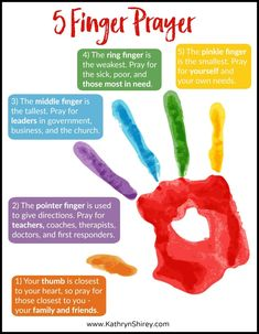 Use the 5 Finger Prayer to visually recall your prayer list Great way to teach kids how to pray but also good for adults free printable prayer cards prayers how to pra. Bible Study For Kids, Bible Lessons For Kids, Children Church Lessons, Bible Verses For Kids, Encouraging Words For Kids, Bible Verses For Hard Times, Preschool Bible Lessons, Bible Stories For Kids, Sunday School Activities