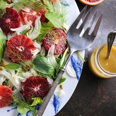 Blood Orange, Shaved Fennel and Pistachio Salad with Mustard Vinaigrette