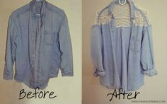 BLEACHED & FADED: Jean Shirt Renivation: DIY Lace Back & Shoulders