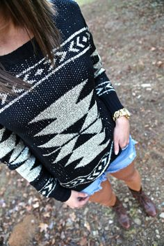 Sequin Aztec Sweater