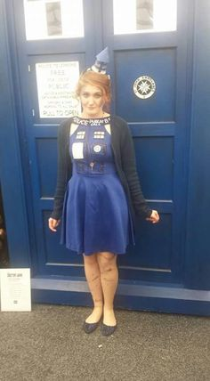 2015 OzComicCon I went as a human TARDIS from Doctor Who. My dress I made mainly myself along with the tardis light on top of my head. #DoctorWho #OzComicCon #Tardis #cosplay