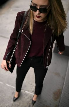Suede burgundy moto jacket, cashmere crewneck burgundy sweater, belted cigarette pants, black leather pumps and silver hoop earrings {Theory, Aqua, Bloomingdales, wear to work, office style, casual office, cashmere sweater, fall style, fall fashion}