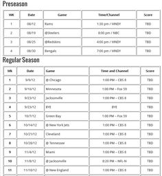 Here is the Indianapolis Colts 2012 pre-season and regular season game schedule with time, dates and TV stations.