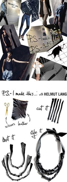 I'm over the moon about getting to work with one of my all time favorite brands, HELMUT LANG! To inaugurate & celebrate this refreshing Spring collection, I have created necklaces, bracelets, and. Diy Jewelry, Jewelry Making, Jewelry Ideas, Cute Diys, Leather Necklace, Helmut Lang, Leather Working, Refashion, Diy Fashion
