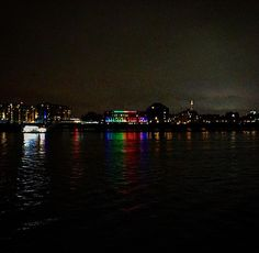 The night time skyline in Canary Wharf across the Thames. {#columbiawharf #rainbow #beautiful #architecture #lights #thames #beautiful #fun #cool #colour #london #canarywharf #dark #night #evening} by lucyblackall