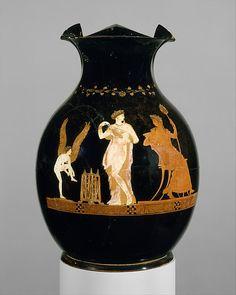 Terracotta oinochoe (jug) - Period: Classical Date: mid-4th century B.C. Culture: Greek, Attic Medium: Terracotta; red-figure Dimensions: H. 9 1/4 in. (23.5 cm); diameter 6 13/16 in. (17.3 cm) Classification: Vases Credit Line: Rogers Fund, 1925 Accession Number: 25.190