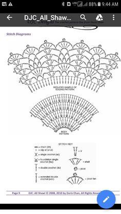 Sc Crochet, Double Crochet, Edc, Diagram, Stitch, Pattern, Hand Fans, Crocheting, Tejidos
