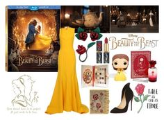 """""""Beauty and the Beast"""" by zoe-keredy ❤ liked on Polyvore featuring Disney, Judith Leiber, Oscar de la Renta and Christian Louboutin"""