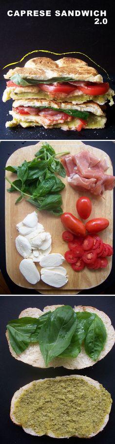 Caprese sandwich 2.0 with gooey mozzarella & prosciutto