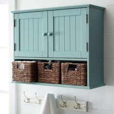 Holtom Antique Sky Blue Wall Storage-Storage doesn't have to be stark. Our handsome wood cabinet features three hand-woven banana leaf baskets and upper wainscot-detailed doors. Sized to fit perfectly above your toilet and hide all your powder room essent Room Storage Diy, Bathroom Storage Over Toilet, Bathroom Storage Cabinet, Bathroom Furniture, Wall Storage, Small Bathroom Storage Solutions, Wall Storage Cabinets, Laundry Room Storage, Bathroom Storage