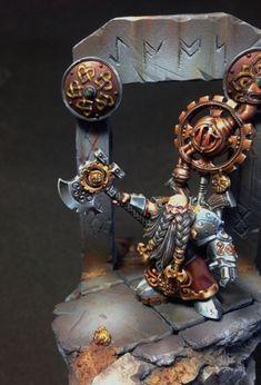 Dwarf Engineer, Golden Demon 2014 project by Steve 'Captain' Cornish · Putty&Paint Warhammer Dwarfs, Warhammer Aos, Warhammer Fantasy, Warhammer 40000, Fantasy Dwarf, Fantasy Battle, World Of Fantasy, Fantasy Miniatures, Miniature Figurines