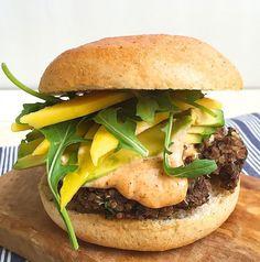 Best Black Bean Quinoa Burger with Spicy Mayo, Avocado, and Mango