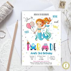 Editable Drive By Mermaid Birthday Parade Invitation, Virtual Party Invite,  Car Girl Pink Quarantine, Instant Download Digital, YOU PRINT Mermaid Birthday, 3rd Birthday, Birthday Cards, Party Invitations, Invite, Party Printables, Baby Announcement Cards, Pink Girl, Kindergarten Graduation