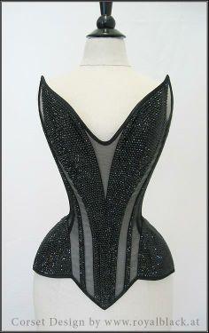 "Divina"" - Sheer overbust corset, decorated with ~7000 Swarovski crystals Royal Black corsets"