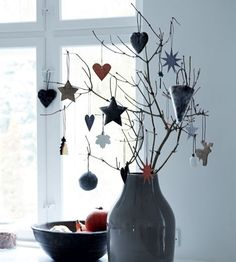 Christmas decorations in the monochrome Danish home of Nordstjerne owner Henriette Bach, with Christmas touches. Photo: Nicoline Olsen.