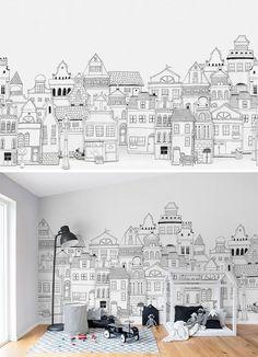 New wall murals kids interior design 69 ideas Kids Wall Murals, Mural Art, Kids Room Wall Art, Nursery Wallpaper, Home Wallpaper, Interior Wallpaper, Wallpaper Wallpapers, Trendy Wallpaper, Kindergarten Wallpaper