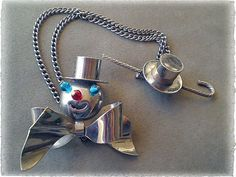 Rare Jazz Age Collectible ~ Book Piece ~ ART DECO Chrome 3-D Showman, Hat + Cane CHATELAINE WHIMSY, $145.00