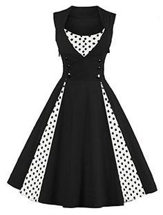 KILLREAL Womens Polka Dot Retro Vintage Style Cocktail Party Swing Dress  https   t 9a7a7cf16b3c