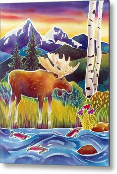Moose On Trout Creek Metal Print By Harriet Peck Taylor